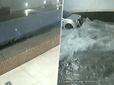 Video viral: una pileta se desfondó e inundó el estacionamiento de un edificio