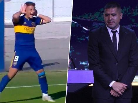 Video: festejó haciendo el 'Topo Gigio' con Riquelme en la tribuna