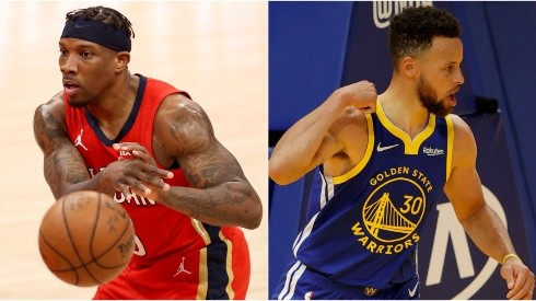 Eric Bledsoe (left) of the New Orleans Pelicans and Stephen Curry (right) of the Golden State Warriors. (Getty)