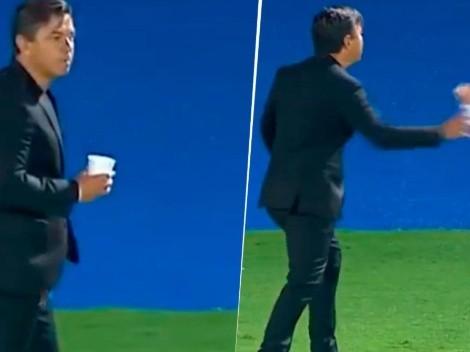 Video: River erró un gol y Gallardo revoleó un vaso al diablo