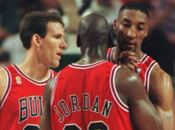 Michael Jordan y Scottie Pippen