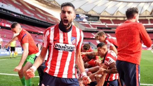 Yannick Ferreira Carrasco of Atletico Madrid celebrates a goal. (Getty)