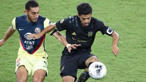 Sebastian Caceres #4 of Club America and Carlos Vela #10 of Los Angeles FC (Getty)