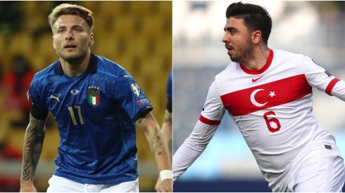 Ciro Immobile of Italy (left) and Ozan Tufan of Turkey (right). (Getty)