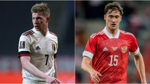 Kevin De Bruyne of Belgium (left) and Aleksey Miranchuk of Russia (right). (Getty)