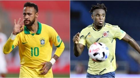 Neymar and  Duván Zapata (Getty)