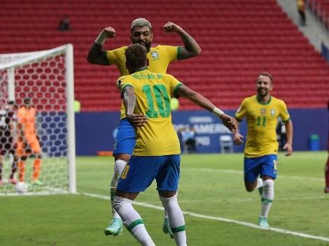 Gabigol anota el 3-0 de Brasil sobre Venezuela