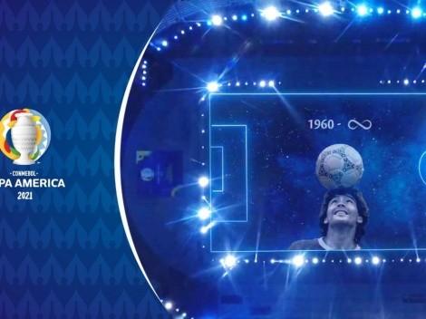 Sensacional! Veja como foi a bonita homenagem da Conmebol a Diego Maradona antes da partida entre Argentina x Chile, pela Copa América