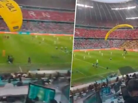 Paracaidista protagonizó el momento viral del Francia vs. Alemania