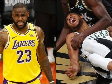 La reacción de LeBron a la tenebrosa lesión de Antetokounmpo en Playoffs