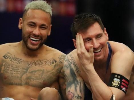 Y la calentura queda en la cancha: la gran foto de Lionel Messi y Neymar tras la final
