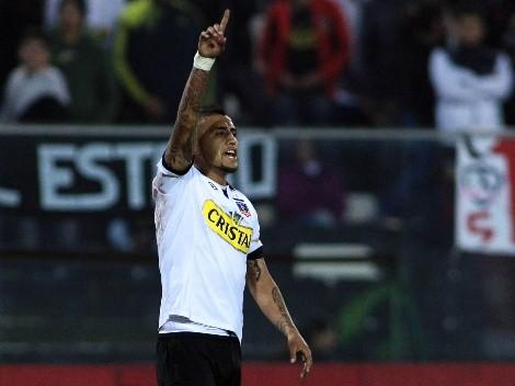 Vidal celebró con todo el gol de Rodríguez en Colo Colo