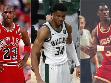 Giannis Antetokounmpo joins Michael Jordan and Hakeem Olajuwon in unique feature
