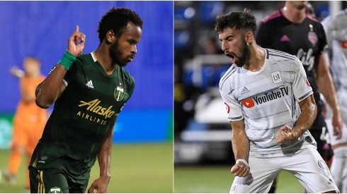 Jeremy Ebobisse of Portland Timbers (left) and Diego Rossi of LAFC. (Getty)