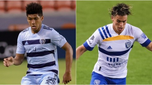Jaylin Lindsey of Sportink Kansas (left) and Cade Cowell of San Jose Earthquakes (Getty).