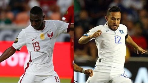 Al Moez Ali of Qatar (left) and Marvin Monterroza of El Salvador (Getty).