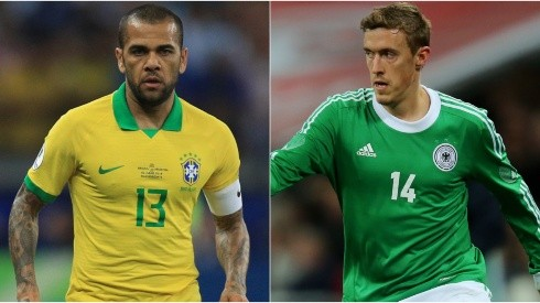 Dani Alves of Brazil (left) and Max Kruse of Germany (right). (Getty)