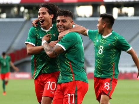 La celebración de Diego Lainez tras el triunfo de México