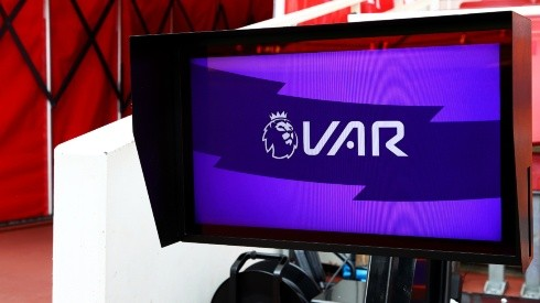 A VAR screen is seen pitch side prior to the Premier League. (Getty)