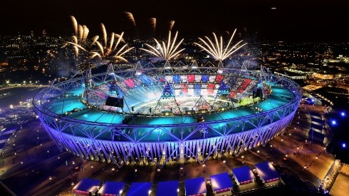 Fireworks ignite over the Olympic Stadium during the Opening Ceremony for the London 2012 Olympic Games. (Getty)