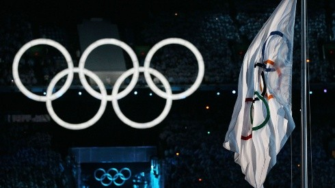 The Olympic rings at an Opening Ceremony of the Olympics. (Getty)