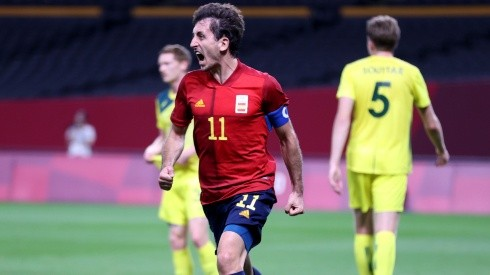 Mikel Oyarzabal of Spain celebrates after scoring. (Getty)