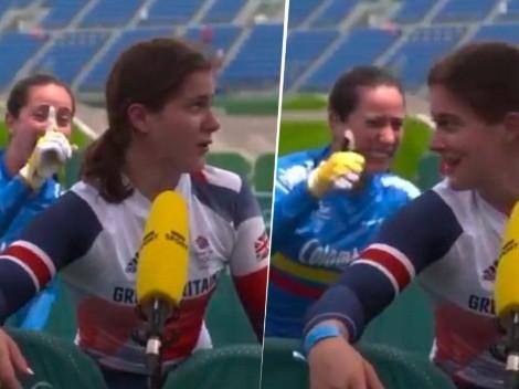 Video: frente a toda la TV británica, Pajón felicitó Beth Shriever por su oro