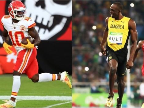 Tyreek Hill cree que puede vencer en una carrera a Usain Bolt