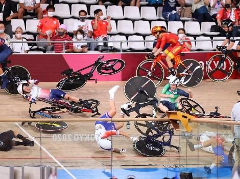 Impactante caída múltiple en ciclismo de pista de Tokio 2020