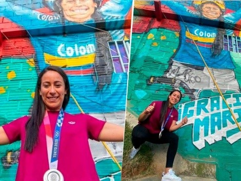 Mural gigante a la Reina: tremendo homenaje a Mariana Pajón en Medellín