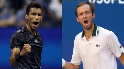 Felix Auger-Aliassime of Canada (left) and Daniil Medvedev of Russia (right). (Getty)