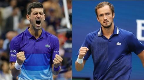 Novak Djokovic of Serbia (left) and Daniil Medvedev of Russia (right). (Getty)