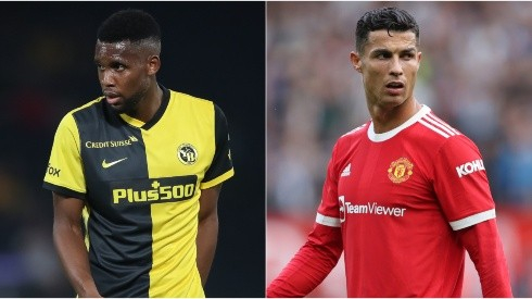 Jordan Siebatcheu Pefok of Young Boys (left) and Cristiano Ronaldo of Manchester United (right). (Getty)