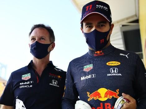 Checo Pérez y Christian Horner protestaron la sanción de Monza