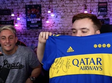¡Qué regalo! Ibai Llanos compartió la camiseta de Boca que le dio Marcos Rojo