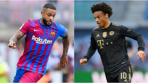 Memphis of Barcelona (left) and Leroy Sané of Bayern Munich (Getty).