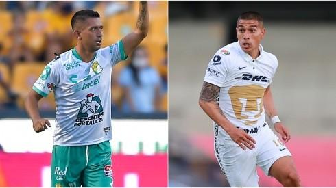 Elías Hernández of Club Leon (left) and Favio Alvarez of Pumas UNAM (Getty).