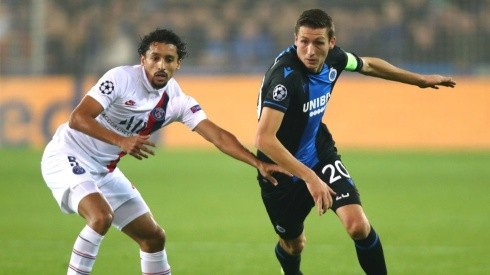 Marquinhos of PSG (left) tries to block  Hans Vanaken of Club Brugge (right) (Getty)