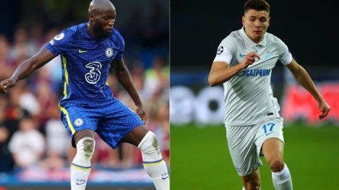 Lukaku of Chelsea FC (left) and Andrei Mostovoy of FC Zenit (right) (Getty)