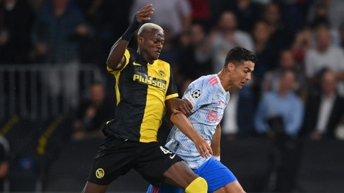 Mohamed Ali Camara of Young Boys against Cristiano Ronaldo of Manchester United. (Getty)