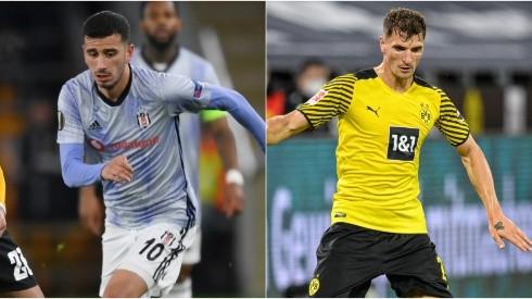 Oguzhan Ozyakup of Besiktas (left) and Thomas Meunier of Borussia Dortmund (Getty).