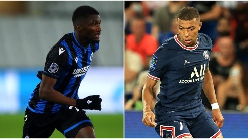 Clinton Mata of Club Brugge (left) and Kylian Mbappé of PSG (Getty).