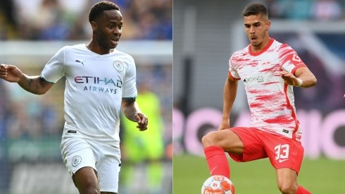 Sterling of Manchester City (left) and Andre Silva of RB Leipzig (right) (Getty)