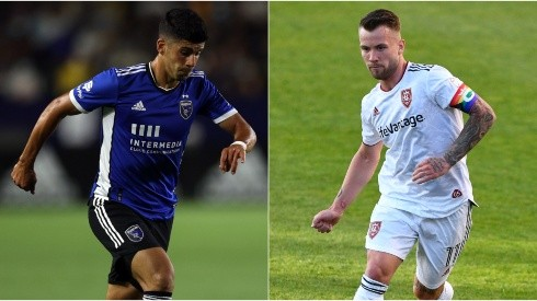 Luciano Abecasis of San Jose Earthquakes (left) and Albert Rusnak of Real Salt Lake (Getty).