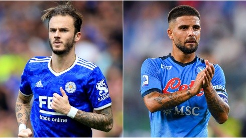 James Maddison of Leicester (left) and Lorenzo Insigne of Napoli (right). (Getty)