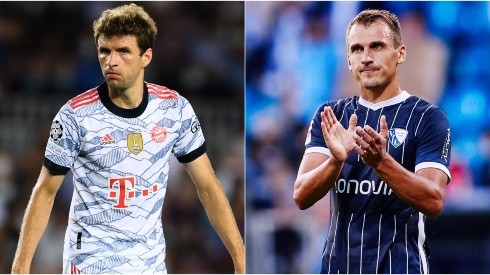 Thomas Muller of Bayern (left) and Robert Tesche of Bochum (right). (Getty)