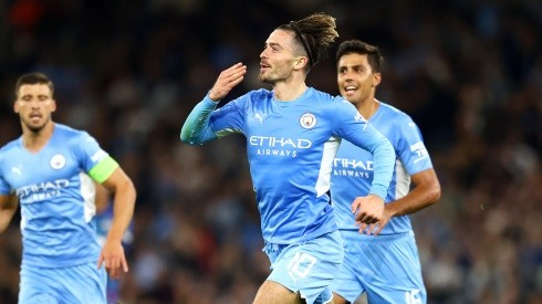 Jack Grealish of Manchester City celebrates his goal (Getty).