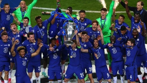 César Azpilicueta lifts the UEFA Champions League trophy after Chelsea beat Manchester 1-0 in the final match, a game that pitted two of the world's most valuable clubs against each other.