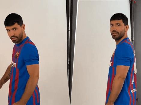 El gesto viral del Kun Agüero en el video que subió Barcelona