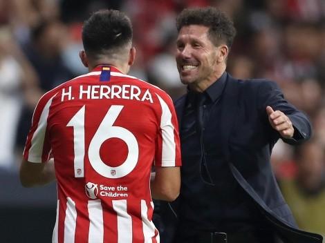 Héctor Herrera observó el triunfo del Atlético Madrid en la banca